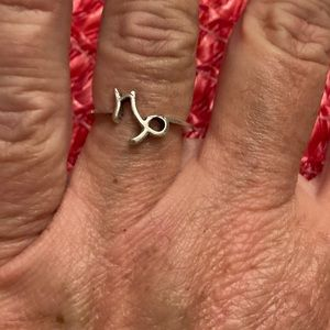 Antique Washed Silver Capricorn Ring